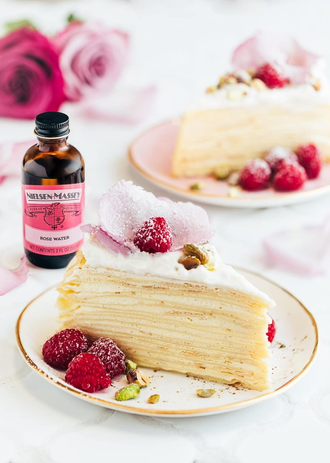 mille crepe cake recipe with rose water diplomat cream (sponsored)