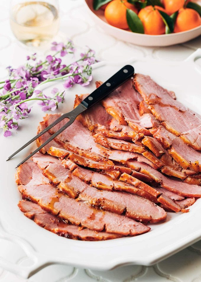 sliced ham with bourbon honey mustard glaze