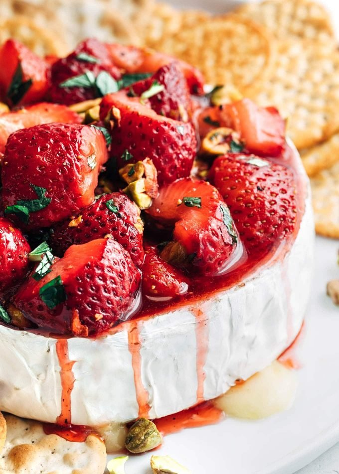 roasted strawberries on a wheel of baked brie {sponsored}