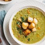 split pea soup with ham and croutons