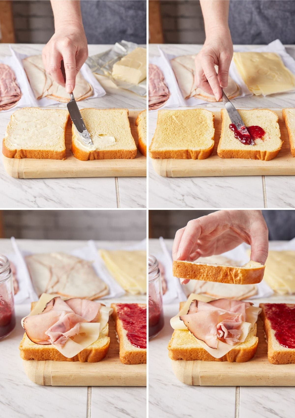 four photos showing the process of assembling a monte cristo sandwich: spreading butter on bread, spreading jelly on bread, layering ham and cheese, and placing the middle piece of bread on the triple decker