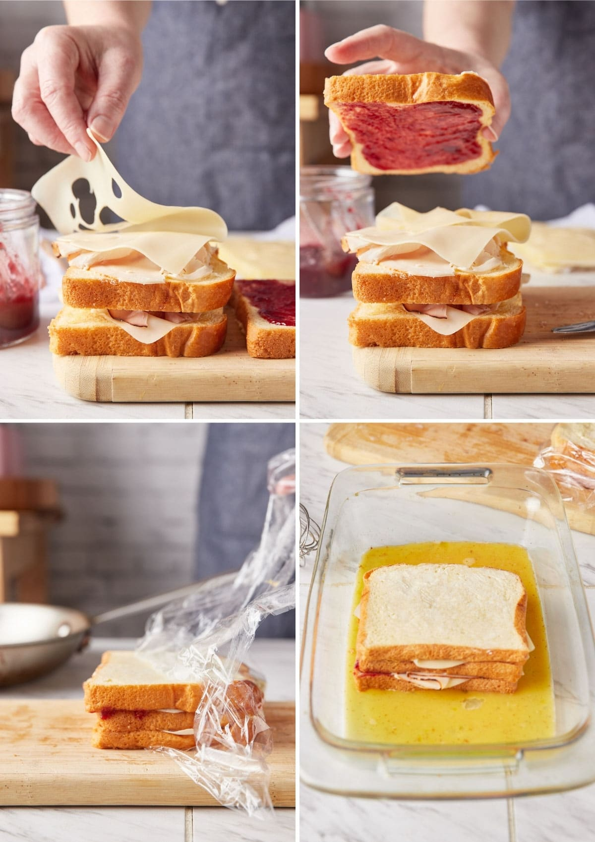 four photos showing the process of assembling a monte cristo sandwich: layering turkey and swiss cheese, topping the sandwich with a jam-spread slice of bread, unwrapping plastic wrap from the pressed sandwich, and dipping the sandwich into a dish of egg custard