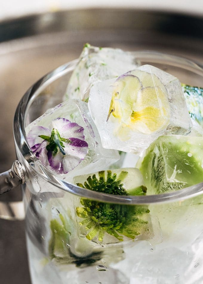 flower ice cubes in an a crystal ice bucket