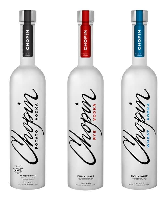 vodka tasting: bottles of chopin potato vodka, rye vodka, and wheat vodka