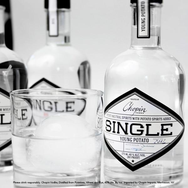 vodka tasting: bottles of chopin single young potato bodka