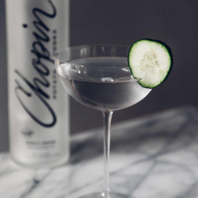 Vodka Tasting: Chopin potato vodka with cucumber garish