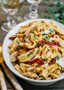 sun-dried tomato pasta salad with artichoke hearts