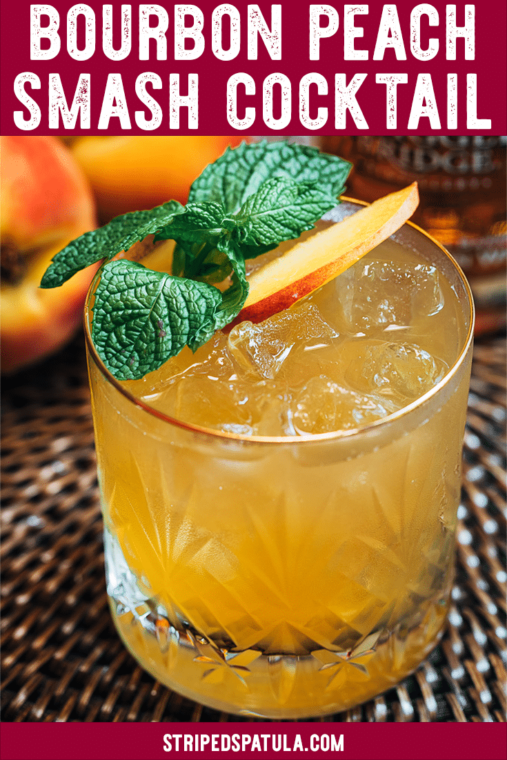 This Bourbon Peach Smash cocktail recipe is a refreshing sip for the dog days of summer! See how easy it is to make this fruity, lightly-spicy bourbon cocktail, made with brown sugar simple syrup. Non-alcoholic variation included in the recipe notes.