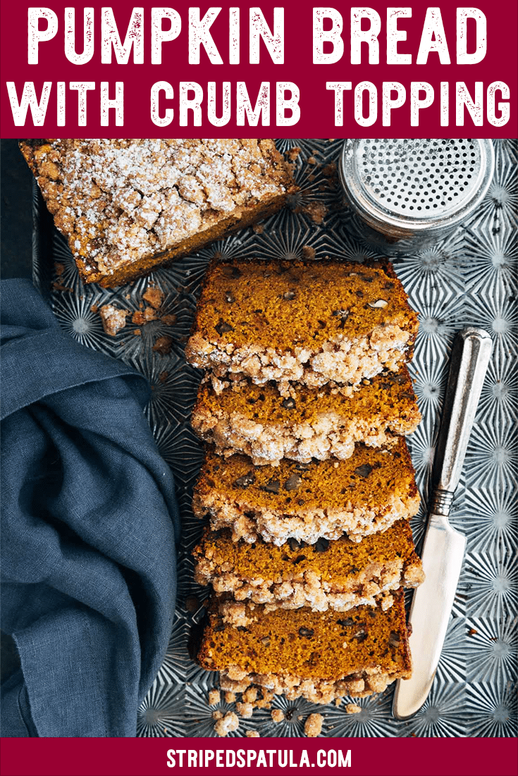 My aunt's pumpkin bread recipe with cinnamon crumble topping is a great fall dessert, breakfast, or snack. It's easy to make, and a delicious way to enjoy pumpkin spice season! #pumpkin #pumpkinrecipes #pumpkinbread #fallrecipes #pumpkinspice