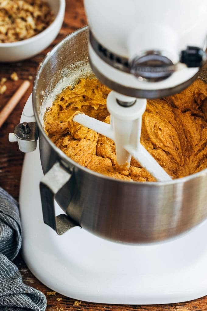 pumpkin bread batter in a KitchenAid stand mixer