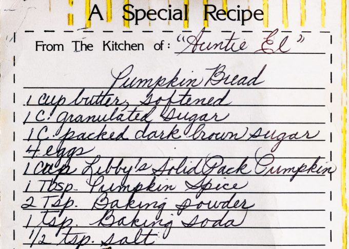 aunt ellen's pumpkin bread recipe card