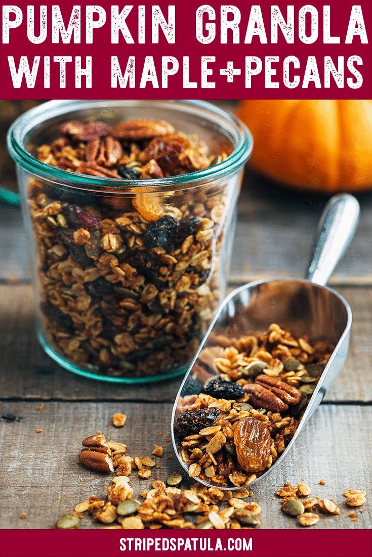 Homemade Pumpkin Granola with Maple Pecans is an easy recipe that's perfect for a healthy snack or fall breakfast. Make it ahead and enjoy it by the handful all week long! #granola #pumpkinrecipes #pumpkinspice #easyrecipe #snacks #breakfast