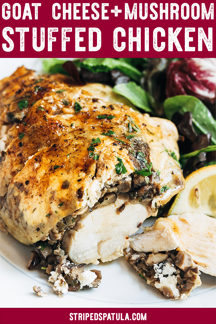 These baked Stuffed Chicken Breasts with mushrooms and goat cheese are one of my favorite dinner recipes. Easy to make for a weeknight dinner, and elegant enough for guests! #chickenrecipes #mushrooms #goatcheese #dinnerrecipes #dinnerideas
