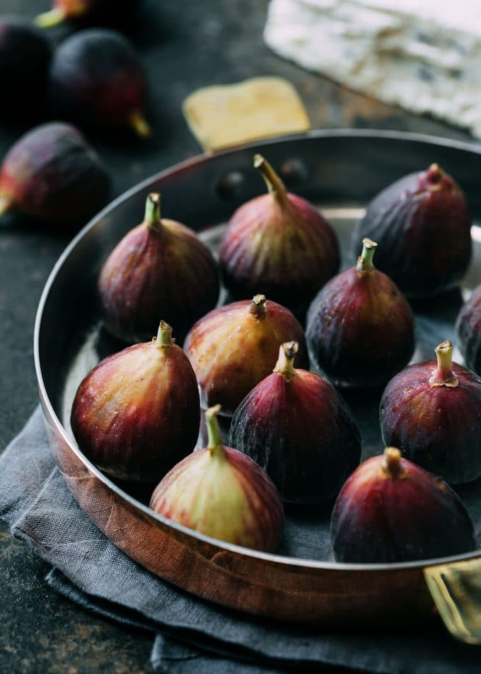 fresh Brown Turkey figs in a copper baking dish