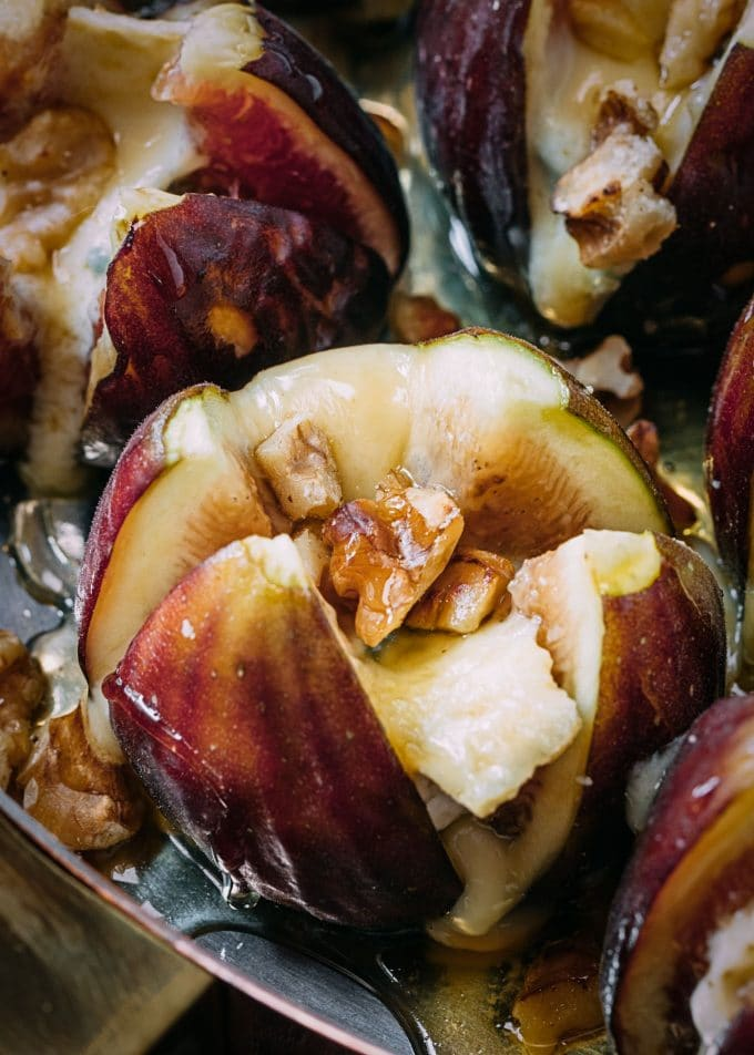 Cambozola Stuffed Figs with Walnuts and Honey