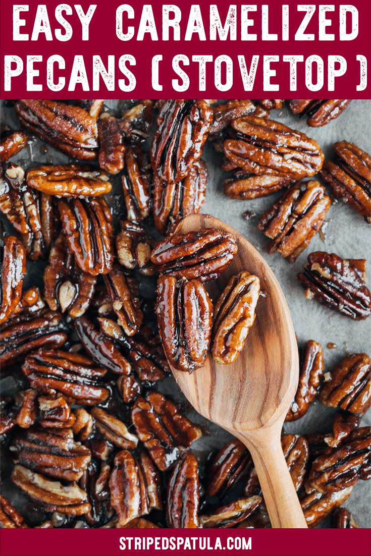 These easy stove top Caramelized Pecans with brown sugar are a great addition to cheese boards, desserts, and your favorite salads! Make them sweet, sweet-spicy, or sweet-salty with the flavor variations! #pecans #fallrecipe #snacks #easyrecipe