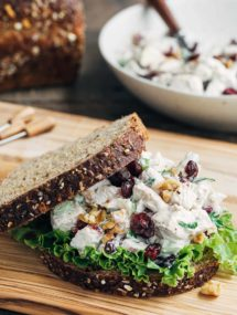 Cranberry Chicken Salad with Walnuts on whole grain bread