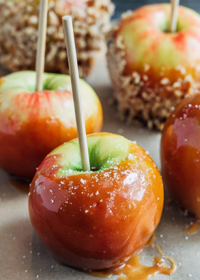 homemade caramel apples with apple cider caramel