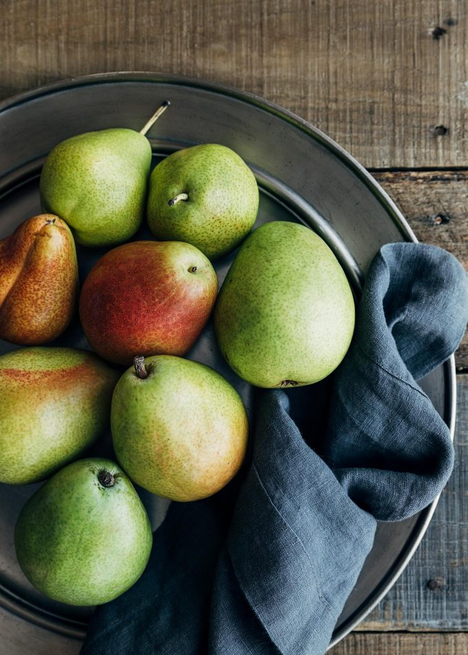 d'anjou and forelle pears on a pewter plate