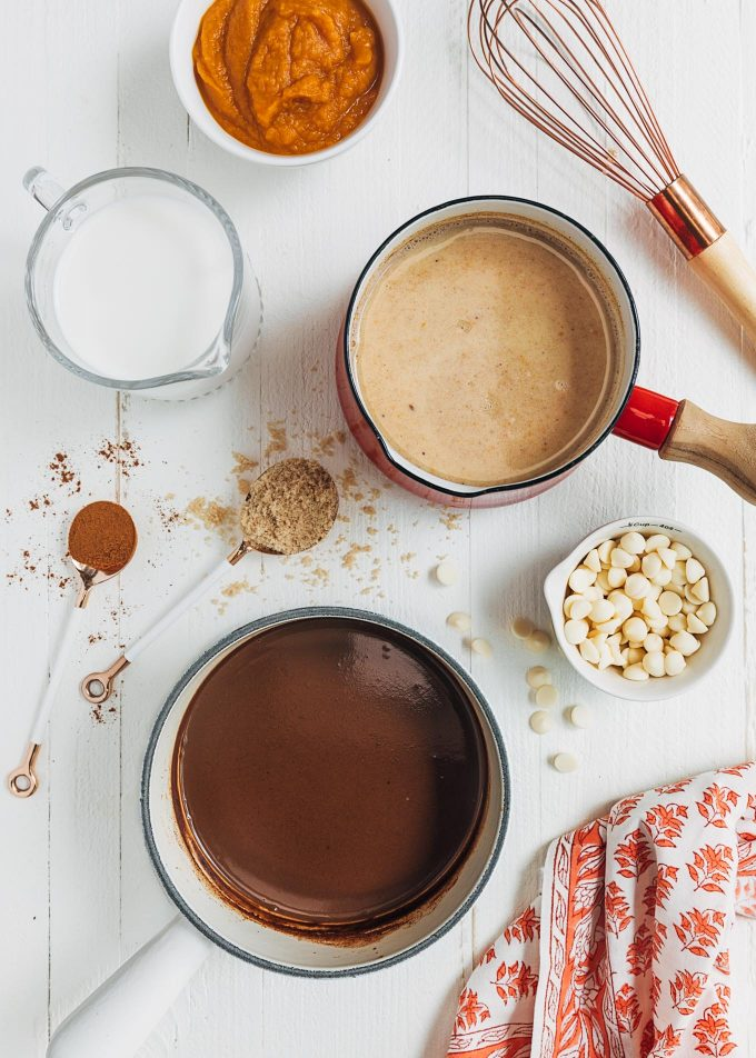 pots of white and dark chocolate with pumpkin spice