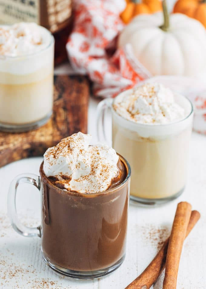 pumpkin spice hot chocolate with white and dark chocolate