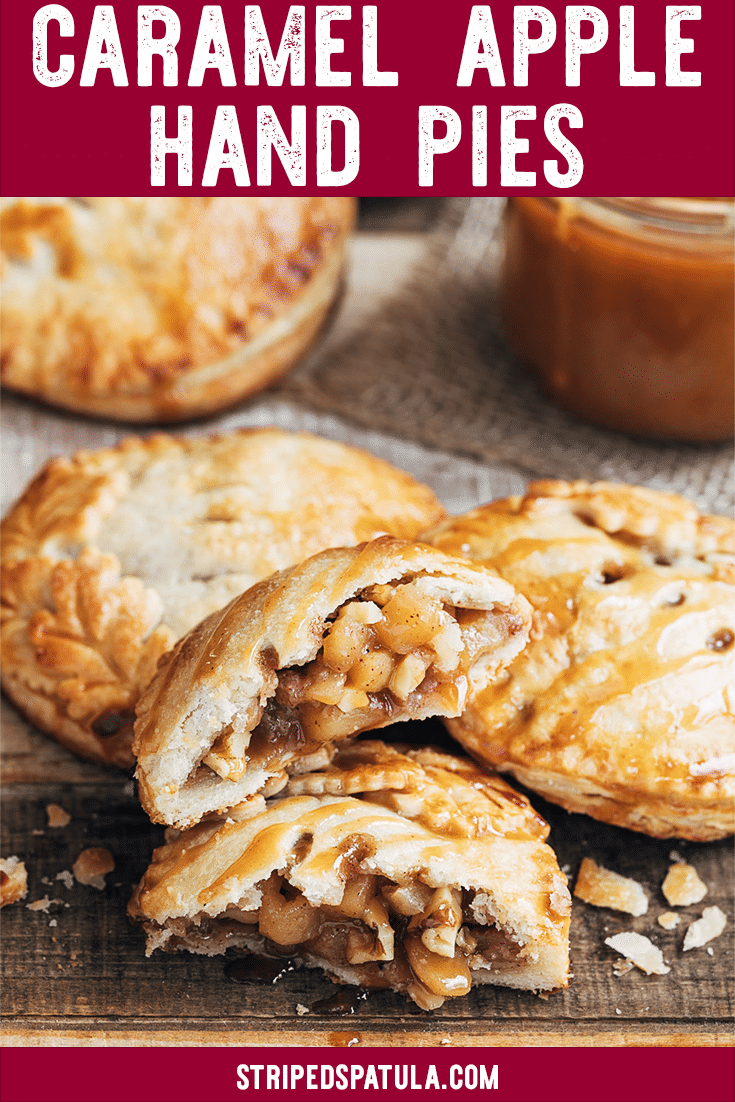 These Apple Hand Pies with Caramel Sauce and walnuts are easy to make from scratch! Just dollop the homemade apple filling onto dough rounds, seal, and bake. #apples #applepie #caramel #dessertrecipes