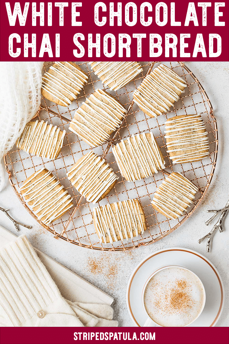Warm up with a batch of White Chocolate Chai Shortbread Cookies this winter! These cookies combine ground tea leaves and the classic spices of a Chai latte with a buttery shortbread cookie. Easy to make for your Christmas cookie trays and exchanges! #shortbread #shortbreadcookies #chaitea #cookieexchange #christmascookies