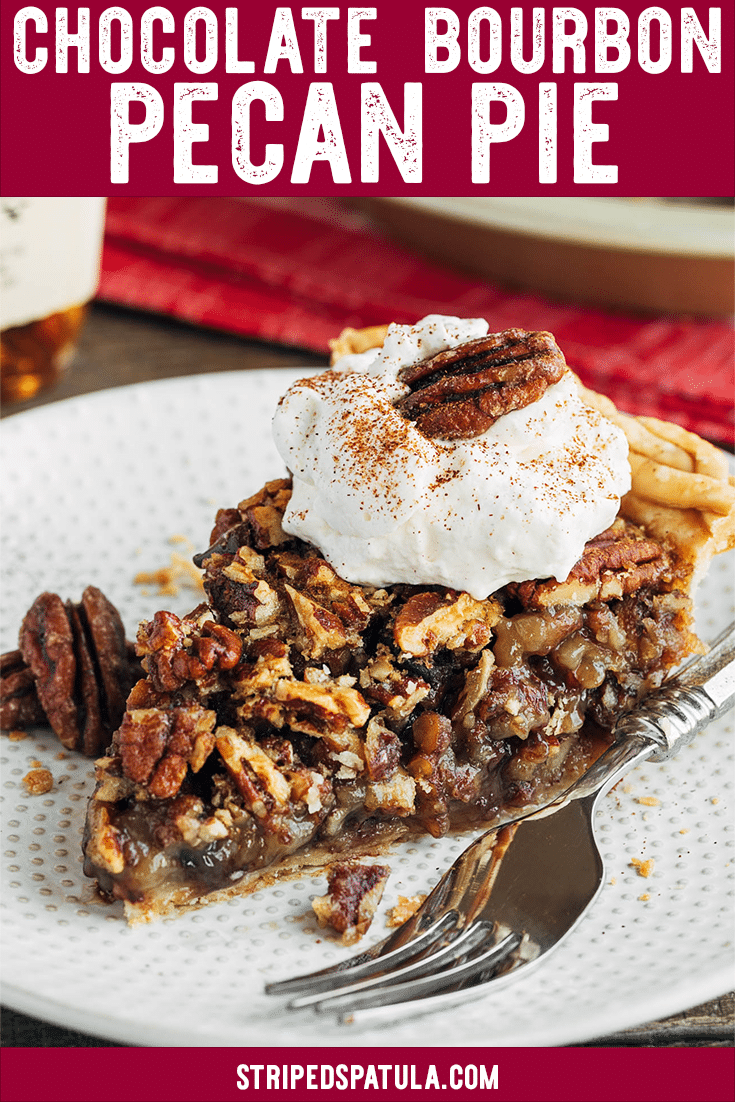 This Chocolate Pecan Pie with bourbon is an easy and impressive dessert for the holidays! Sweet, nutty, and chocolatey, this recipe is a showstopper for any fall or winter dessert table. #pecans #pecanpie #bourbon #chocolaterecipes #desserts #thanksgivingrecipes