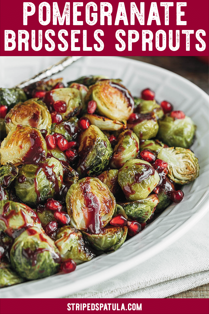 These Roasted Brussels Sprouts with Pomegranate Glaze are a delicious fall side dish. It's easy to make the glaze on the stove while the sprouts are baked in the oven. Perfect for Thanksgiving dinner! #brusselssprouts #thanksgivingrecipes #vegetables #pomegranate #sidedish #sidedishrecipes