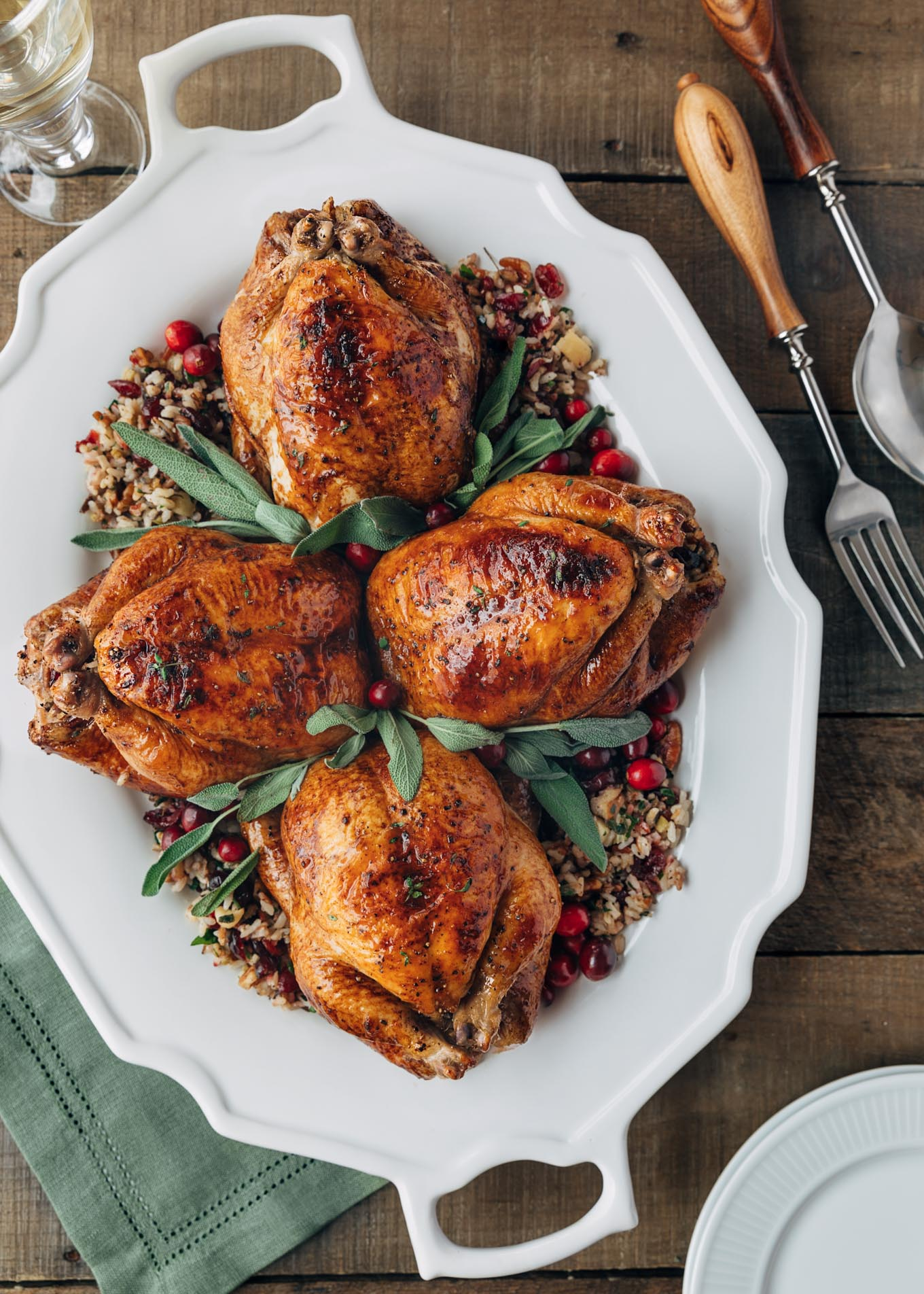 Cornish Hens with Apple-Cranberry Rice Stuffing