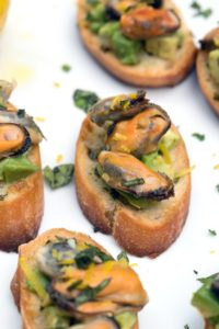 sparkling wine mussel crostini from We Are Not Martha