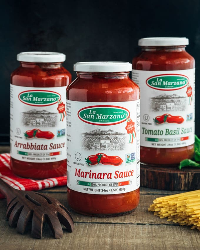 three jars of La Regina di San Marzano pasta sauces {sponsored}