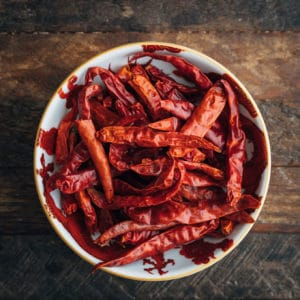 dried red chiles in a bowl