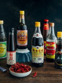 bottles of pantry essentials for chinese cooking