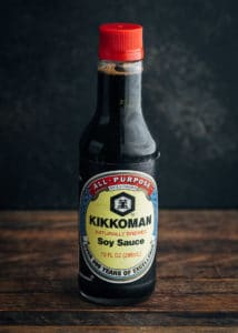 bottle of kikkoman japanese shoyu style soy sauce