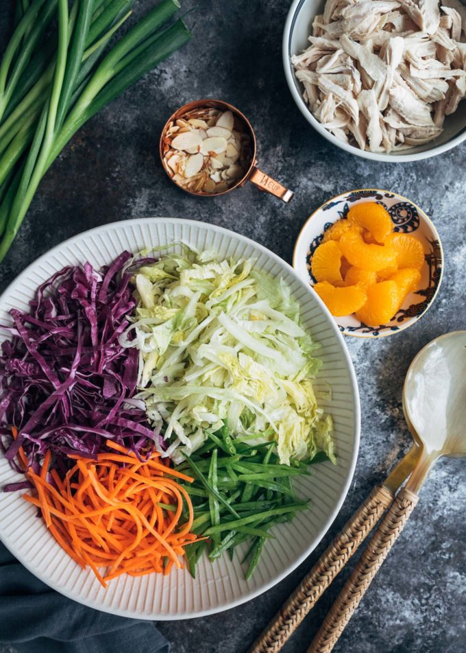 ingredients for Chinese chicken salad in bowls