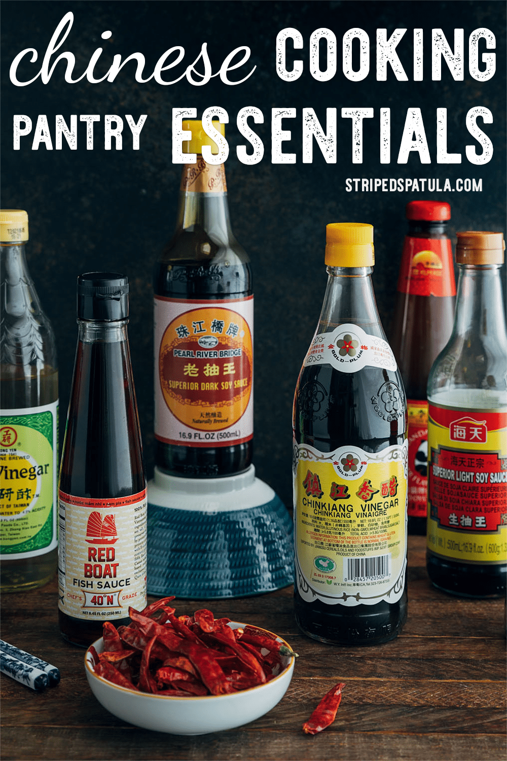 Cook restaurant-quality Chinese meals at home with these Asian pantry staples! With this guide, you'll be able to navigate the market  easily and learn about the products you need for authentic Chinese cooking. #chinesefood #soysauce #asisanfood
