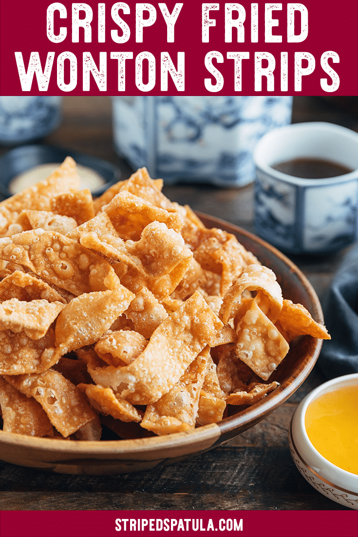 """Do you love the fried wonton strips served at Chinese-American restaurants? They're easy to make at home! With this recipe, you'll get all the tips and tricks you need to make restaurant-quality crispy wonton chips for your next """"takeout fakeout"""" dinner. #takeoutfakeout #wontons #chinesefood"""