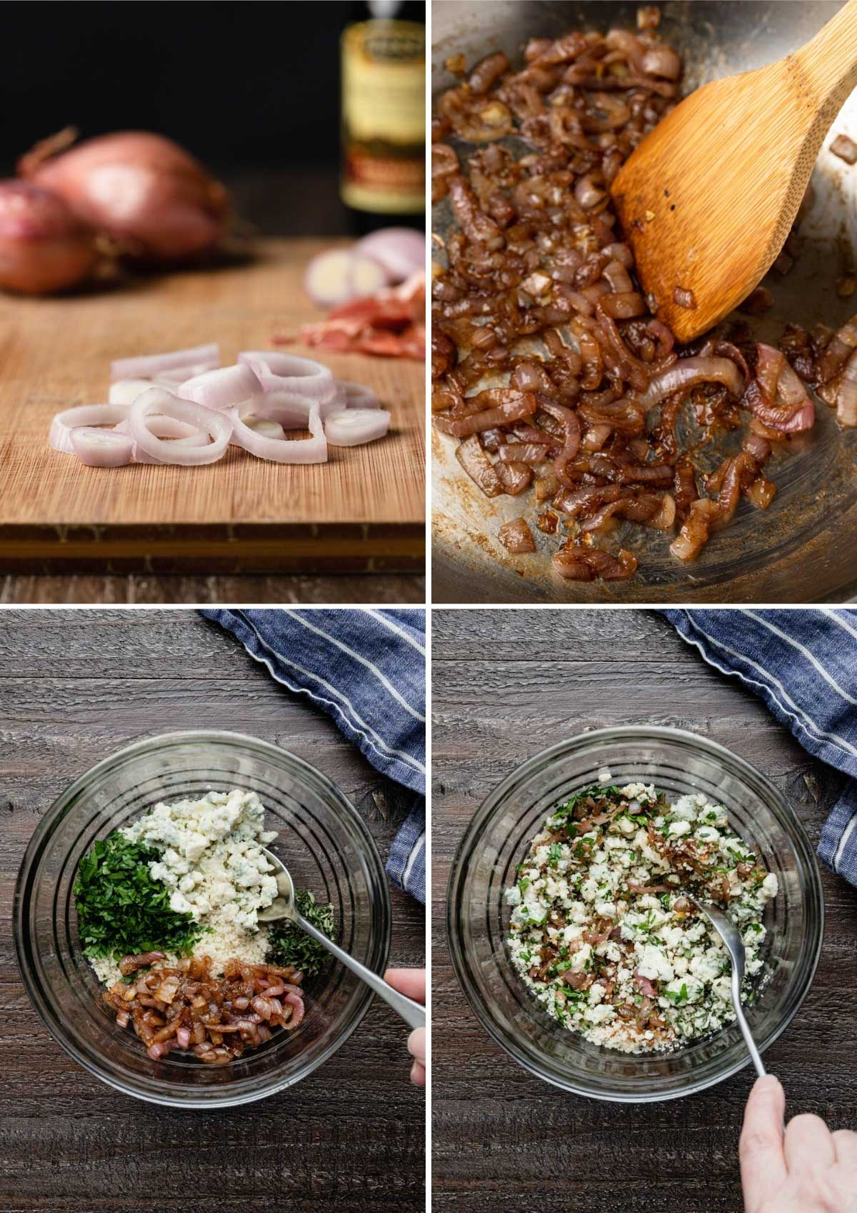 four photos showing the process of making a blue cheese crust with panko and caramelized shallots