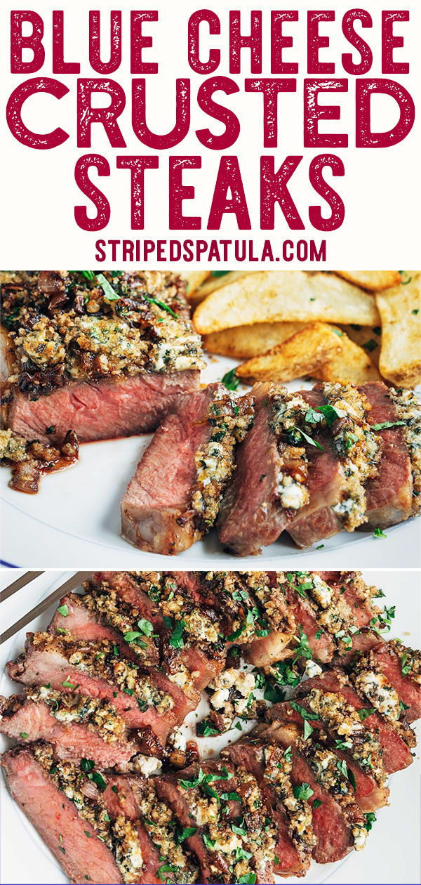 Do you love to upgrade your steak with a blue cheese crust at restaurants? It's easy to make this add-on at home! This Blue Cheese Crusted Steak recipe is ready to impress in an hour, prep to dinner. #beef #dinner