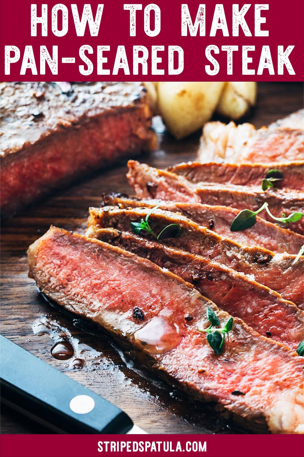 Learn how to make Pan-Seared Steak at home that will rival your favorite restaurants! By using a cast iron skillet and basting the steak with garlic-infused butter, it's easy to make a perfect steak on the stove, every time. #beef #dinner
