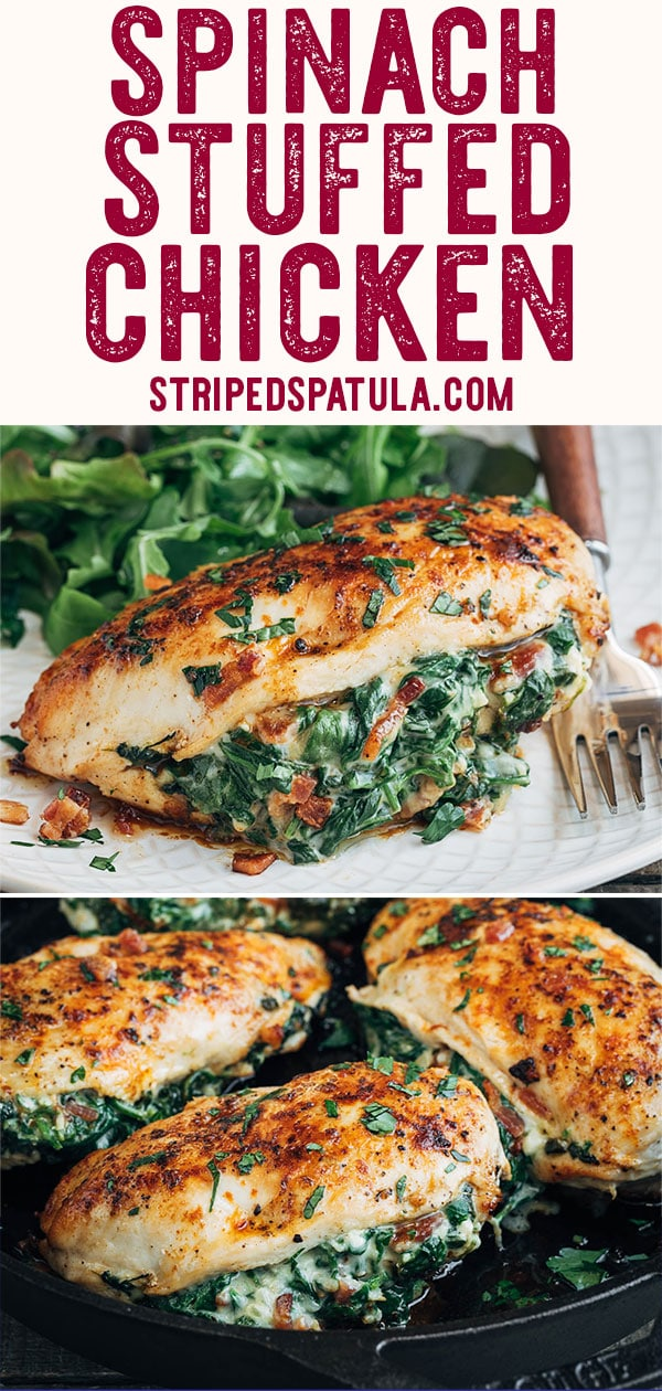 Give your chicken repertoirea refresh with these Spinach Stuffed Chicken Breasts! Filled with a cheesy creamed spinach and bacon stuffing, this flavorful recipe makes for an easy and comforting dinner. #chicken #dinner