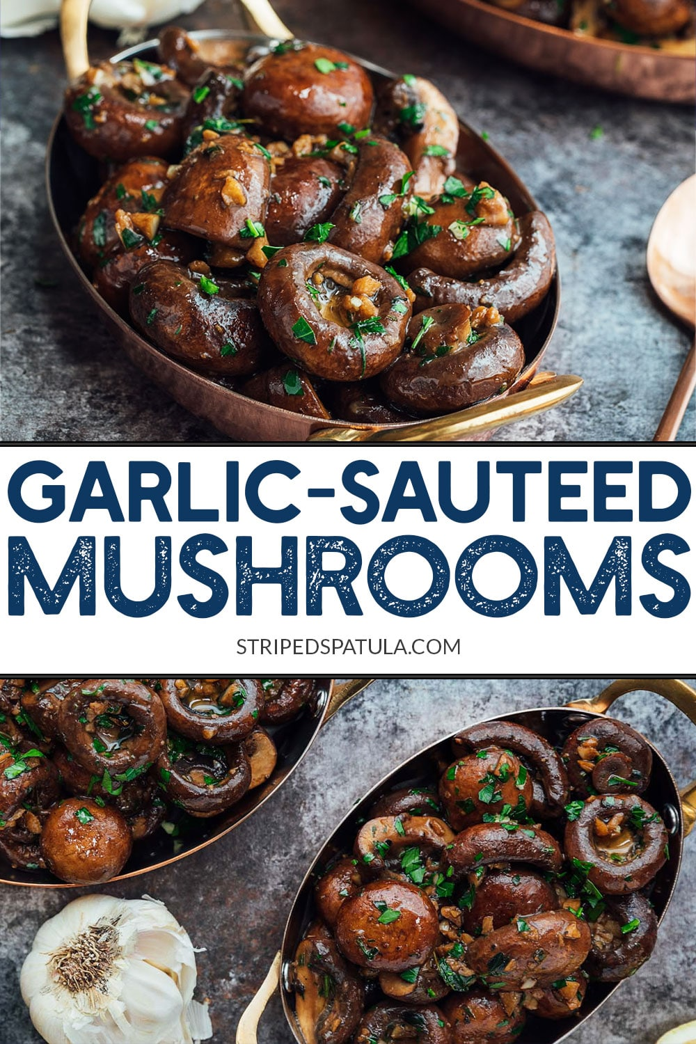 Love ordering garlicky, buttery sautéed mushrooms as a side for steak at restaurants? They're easy to make at home! A splash of cognac and fresh lemon juice takes these mushrooms to the next level. #mushrooms #sidedish
