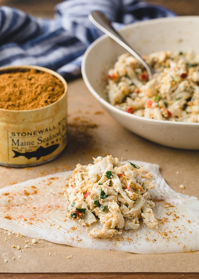 {sponsored} crab stuffing on a flounder fillet