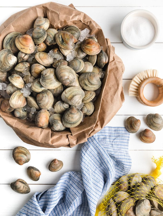 fresh clams on ice in a paper bag