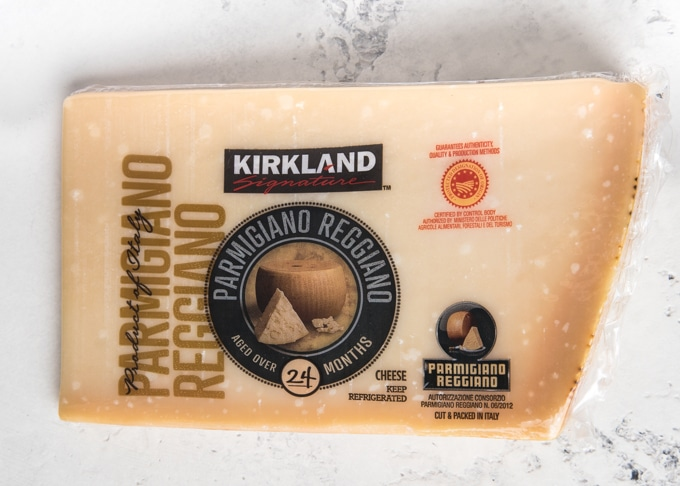 Costco grocery staples: wedge of Kirkland parmigiano reggiano
