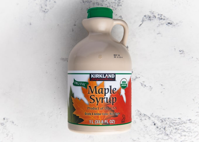 jug of kirkland organic maple syrup