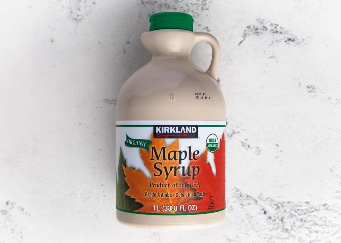 jug of kirkland organic maple syrup