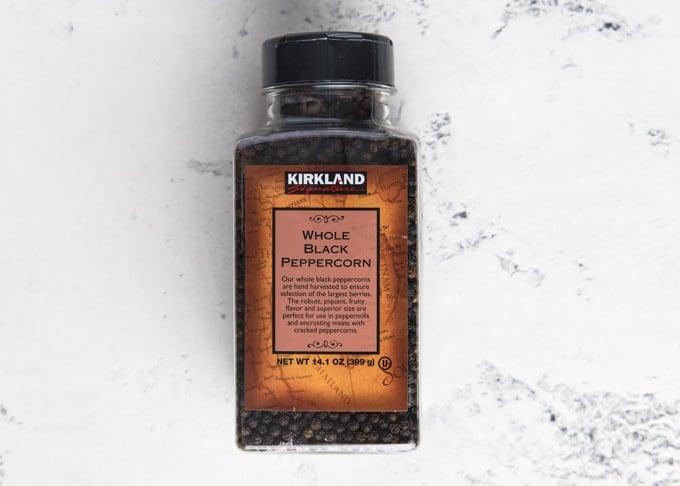 jar of Kirkland whole black peppercorns