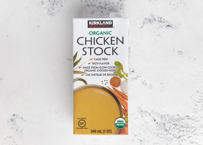box of kirkland organic chicken stock